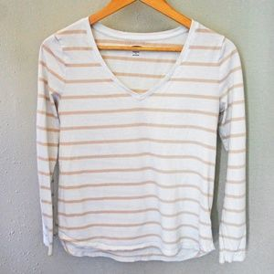 Old Navy Everywear Long Sleeve V Tee Beige Stripe